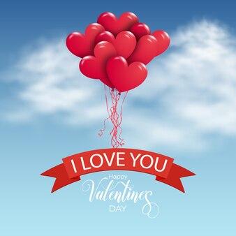 Bando de balões de ar vermelho voando no céu.