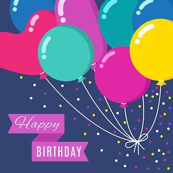 Bando de balões de desenhos animados coloridos voando no céu com a faixa de feliz aniversário