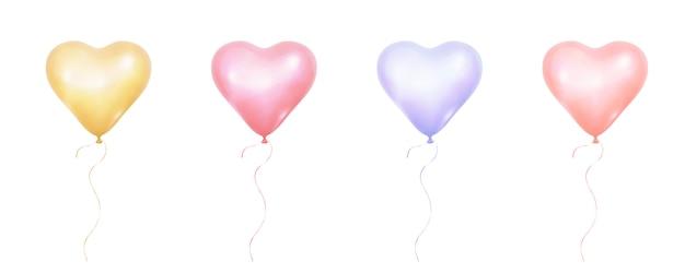 Bando de balões realistas de cores pastel de forma de coração