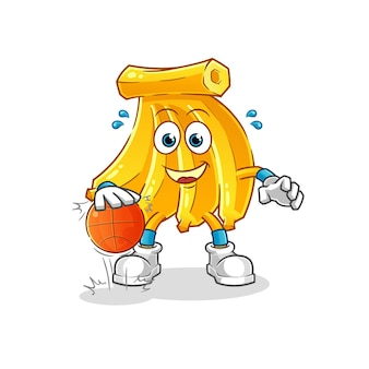 Bando de bananas driblam o mascote dos desenhos animados do basquete. mascote mascote dos desenhos animados