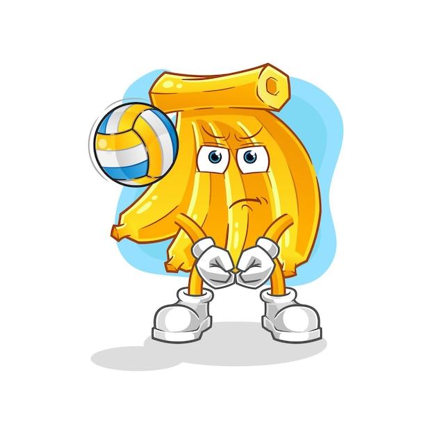 Bando de bananas joga o mascote do vôlei. mascote dos desenhos animados