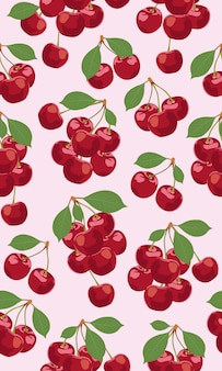 Bando de padrão sem emenda de frutas cereja
