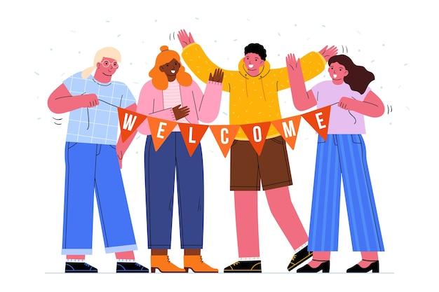 Bando de pessoas acolhedoras ilustradas