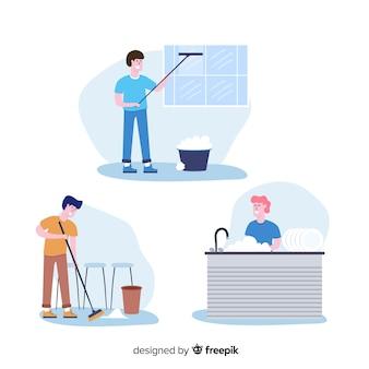 Bando de pessoas fazendo trabalhos domésticos