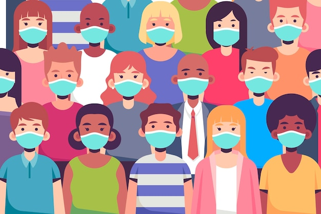 Bando de pessoas usando máscaras faciais