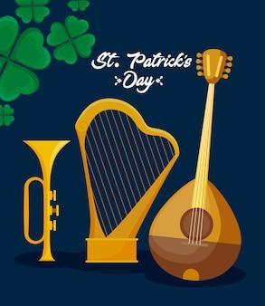 Bandolim com harpa e trunfo de st patrick day