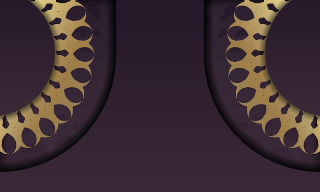 Baner da cor vinho com padrão de ouro indiano para desenho sob o logotipo ou texto