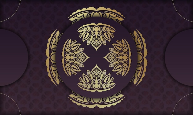 Baner da cor vinho com uma mandala com um ornamento de ouro e um lugar para o texto