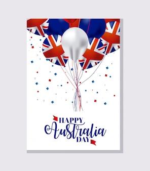 Baner de feliz dia da austrália com bandeiras em balões