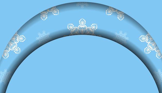 Baner em azul com enfeites brancos gregos e um lugar para seu logotipo