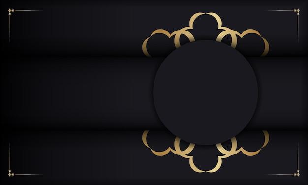 Baner em preto com enfeite de luxo dourado