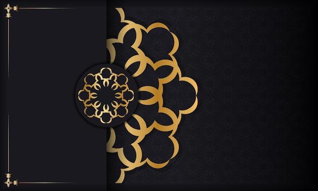 Baner em preto com padrão de luxo dourado