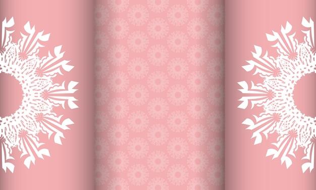 Baner em rosa com um padrão branco abstrato e um lugar para seu logotipo