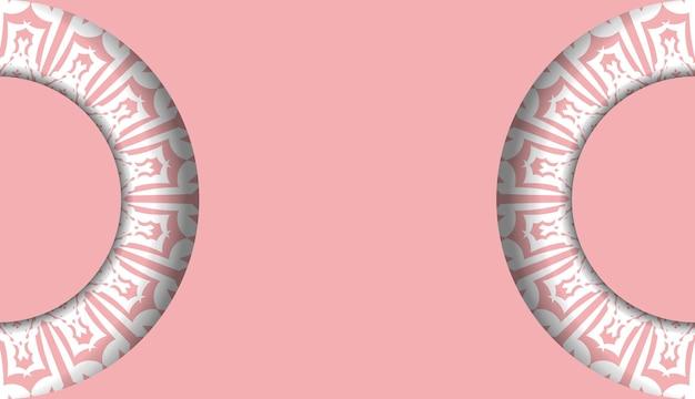 Baner rosa com enfeites gregos brancos para design sob seu logotipo ou texto
