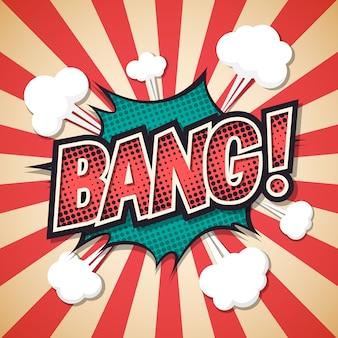 Bang, bolha do discurso explosão em quadrinhos.