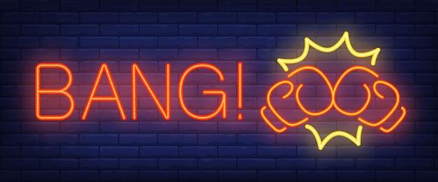 Bang neon texto com luvas de boxe