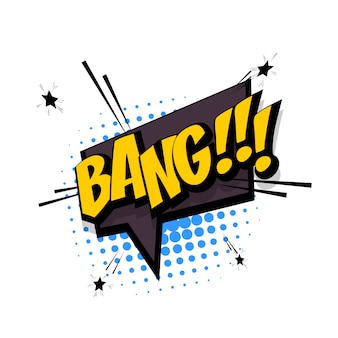 Bang texto em quadrinhos efeito sonoro estilo pop art balão