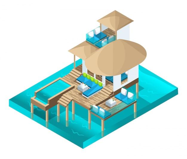 Bangalô chique de isometria nas ilhas maldivas, uma magnífica sala no meio do oceano