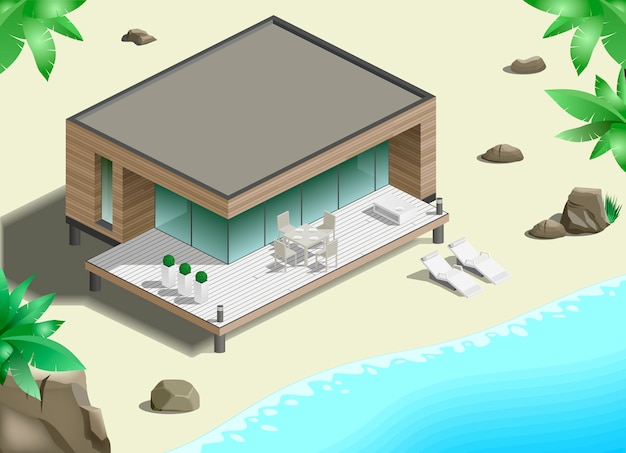 Bangalô moderno na costa