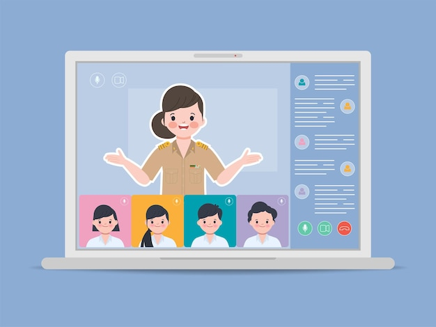 Bangkok estudante estudando em casa. educação escolar online com o conceito de internet wi-fi.