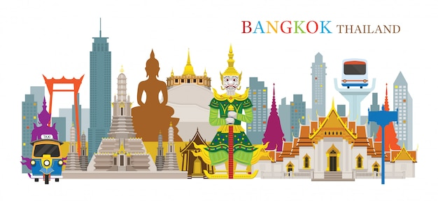 Bangkok, tailândia e pontos de referência, atração de viagens, cena urbana