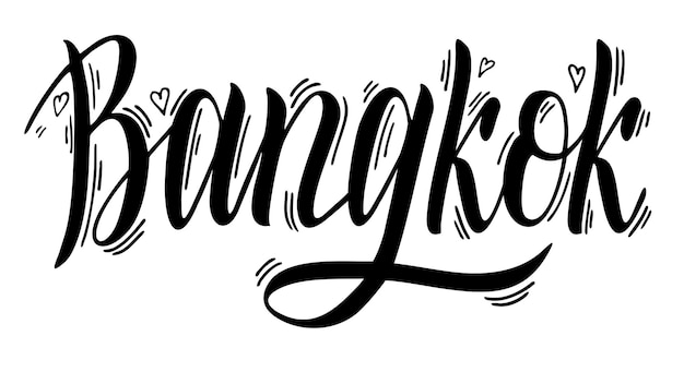 Banguecoque, tailândia, capital, tipografia, letras, vetorial, desenho, mão, desenhado, escova caligrafia