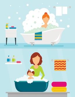 Banheira, banhar-se, mulher