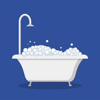 Banheira com bolhas de espuma e chuveiro. banheiro. ilustração vetorial em estilo simples.