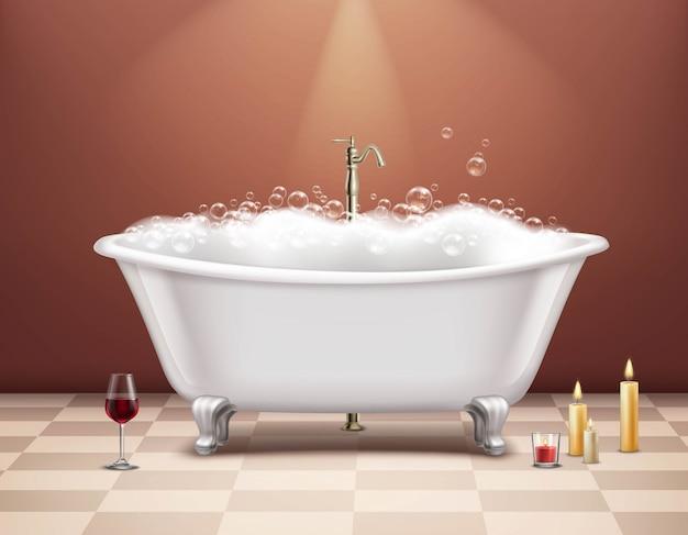 Banheira com composição de espuma