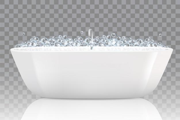 Banheira com ilustração de bolhas de sabão