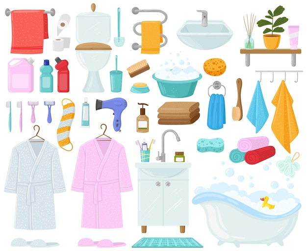Banheira de desenho animado, toalhas e produtos de higiene, banheiro. conjunto de ilustração vetorial de higiene, roupão de banho, banheira e pia do banheiro. desenho do banheiro. escova e pasta de dentes, acessórios de shampoo para banho