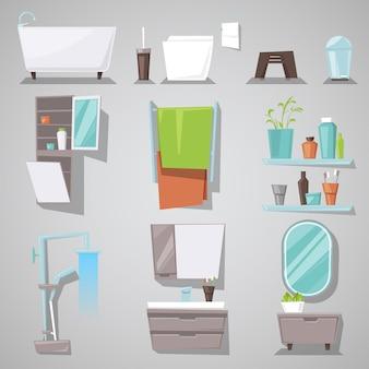 Banheira interior do banheiro e chuveiro com móveis de espelho no conjunto de ilustração de balneário de quarto mobiliado para banho e banheiro em casa isolado no fundo