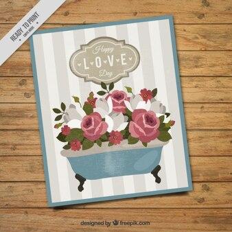 Banheira vintage com cartão das flores