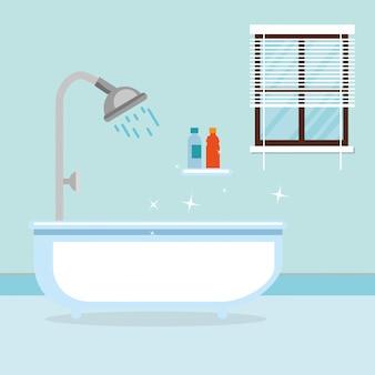 Banheiro com cena de banheira