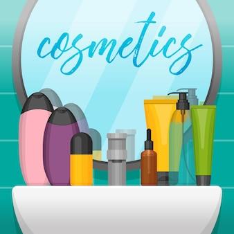 Banheiro com espelho e frascos de cosméticos coloridos na prateleira.