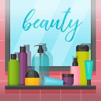 Banheiro com espelho e frascos de cosméticos na prateleira. conjunto para produtos de beleza e limpeza, cuidados com a pele e o corpo, produtos de higiene pessoal.