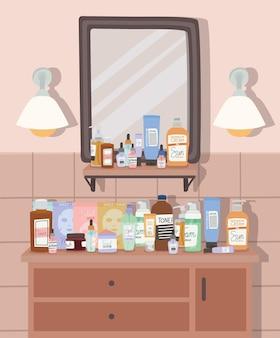 Banheiro com espelho e móveis com ilustração de três gavetas