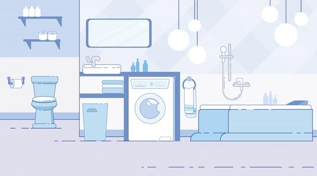 Banheiro com vaso sanitário moderno inferior plana vector