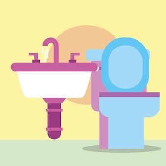 Banheiro e torneiras de lavatório banheiro de desenhos animados