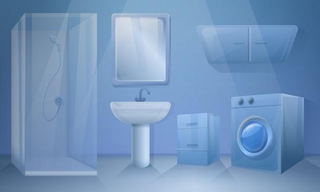 Banheiro em estilo cartoon, ilustração vetorial