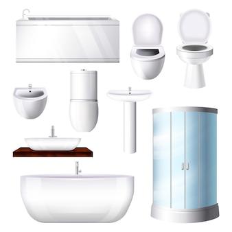 Banheiro interior banheira pia chuveiro-vaso sanitário no conjunto de ilustração bathhouse de chuveiro-box banheira-assento no banheiro e banheiro quarto isolado no fundo branco