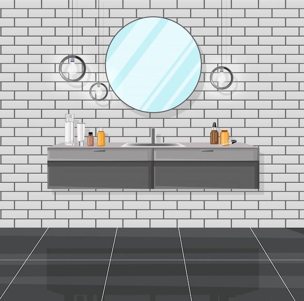 Banheiro moderno com pia, espelho e vários produtos cosméticos
