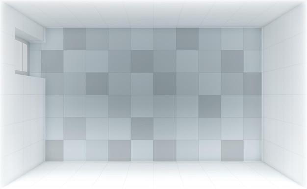 Banheiro vazio com vista superior da porta e paredes de azulejos
