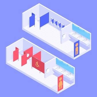 Banheiros públicos isométricos masculinos e femininos