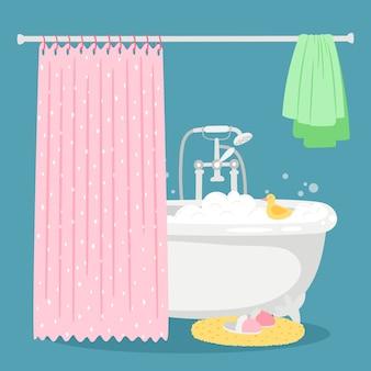Banho, bolhas de sabão, pato amarelo e ilustração de toalha
