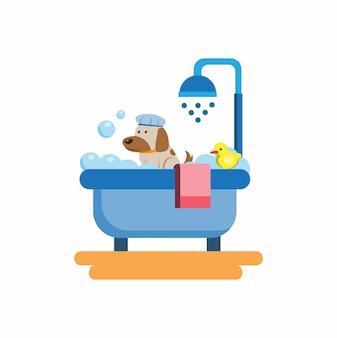 Banho de cachorro, logotipo ícone símbolo plana ilustração