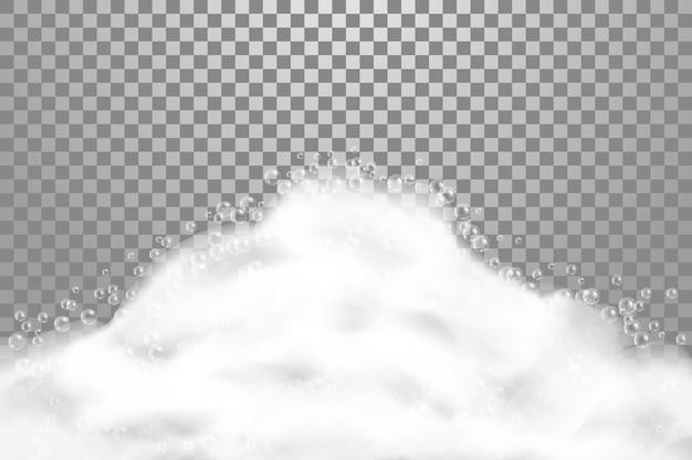 Banho ensaboar illustrarion realista sobre fundo transparente. espuma de sabão com bolhas de xampu, textura de espuma, ilustração