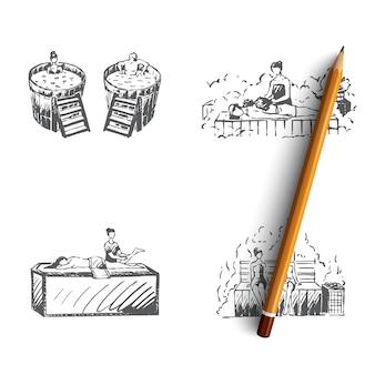 Banho japonês desenhado à mão ilustração