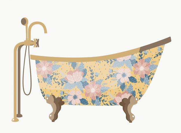 Banho vintage com uma bela flores