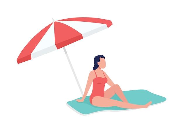 Banhos de sol sob o guarda-chuva de cor semi-plana. figura relaxante. pessoa de corpo inteiro em branco. a hora da praia isolou a ilustração do estilo dos desenhos animados modernos para design gráfico e animação
